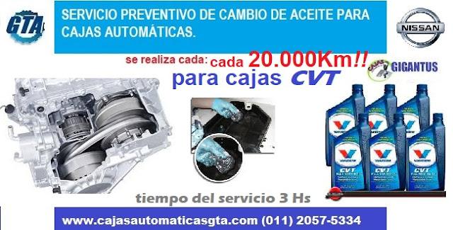 Servicio para caja automática CVT NISSAN SENTRA, XTRAIL Y MURANO