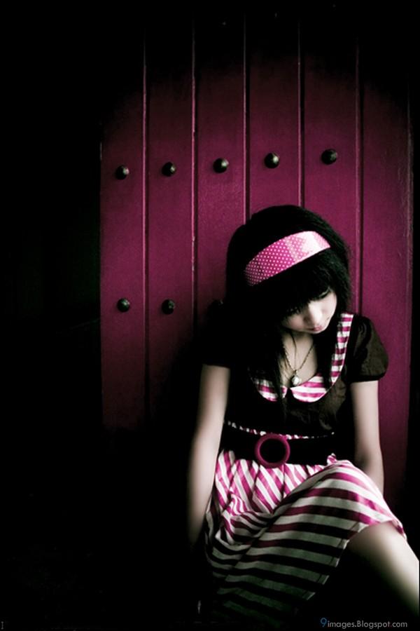 Sad Emo Girl Pink Cute Lonely Fashion