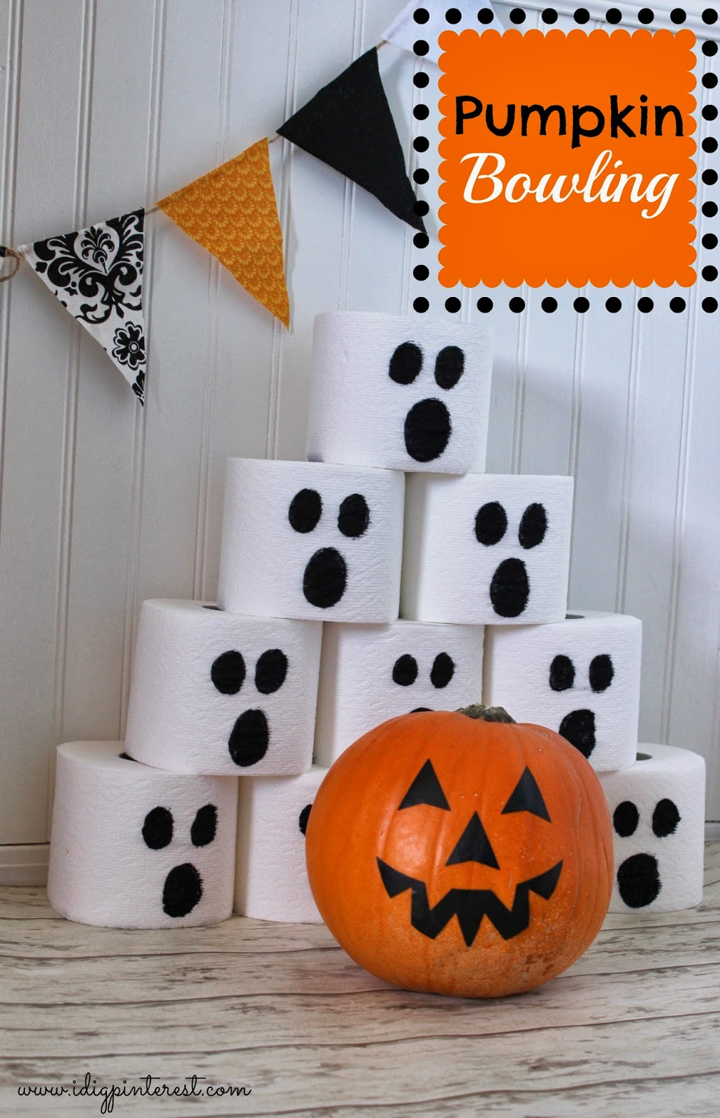 Pumpkin Bowling Halloween Party Game - I Dig Pinterest