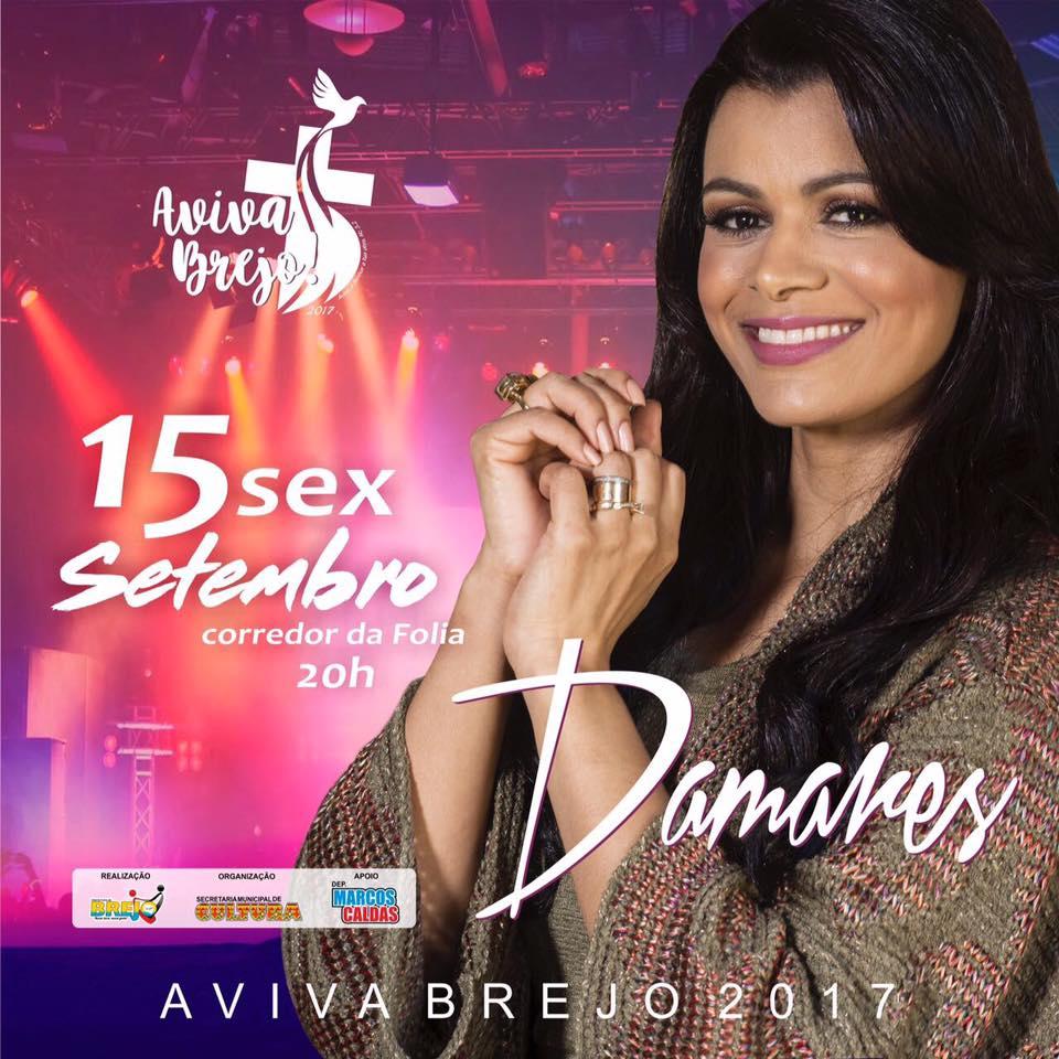 Prefeitura de Brejo confirma cantora Damares no Aviva Brejo dia 15 de setembro.