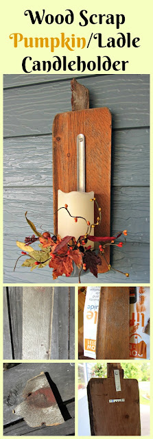 Easy Scrap Wood Pumpkin/Ladle Fall Candleholder www.organizedclutter.net