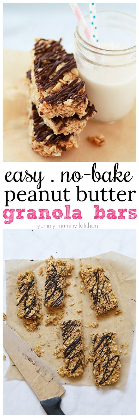 These easy no-bake peanut butter granola bars are vegan and gluten free. They make a great lunch box or after school snack.