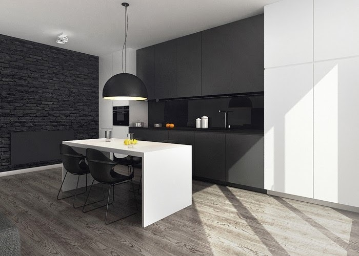 Ambiente de contrastes en blanco y negro  Cocinas con estilo