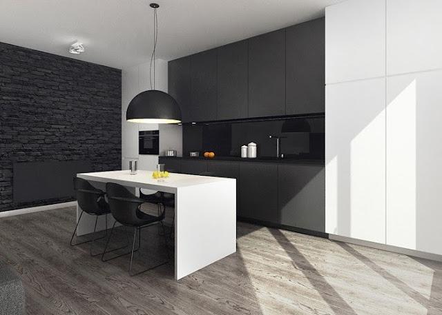 Ambiente de contrastes en blanco y negro cocinas con estilo - Cocina blanca encimera negra ...
