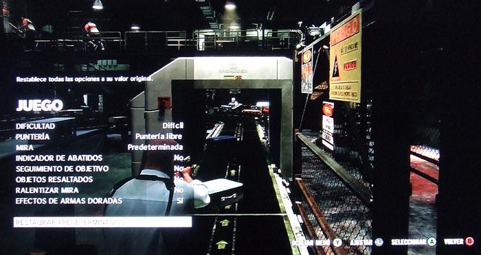 Aspecto y opciones del menú de configuración general del juego.