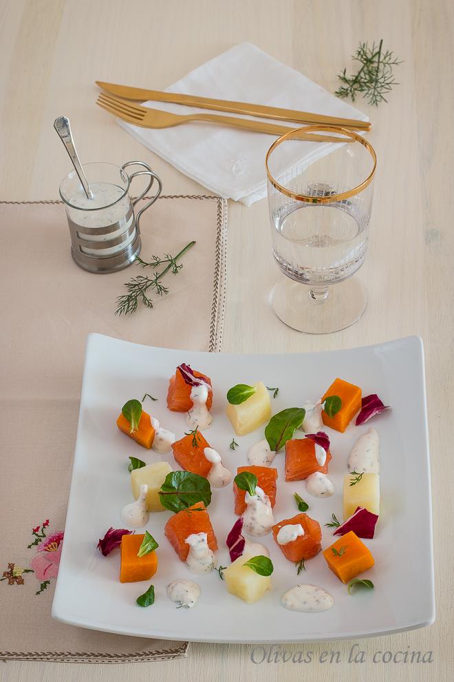 Ensalada de patatas y salm n marinado olivas en la cocina for Libro cocina al vacio joan roca pdf