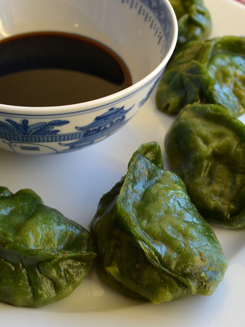 Groene dumplings met varkensgehak