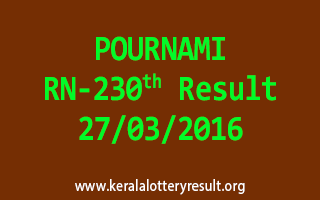 POURNAMI RN 230 Lottery Result 27-3-2016