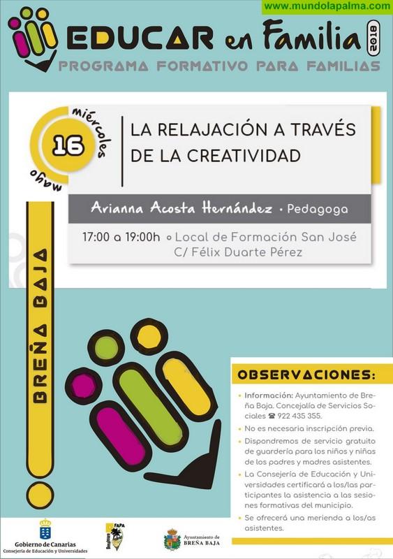 """BREÑA BAJA: """"La Relajación a través de la Creatividad"""" (para padres y madres)"""