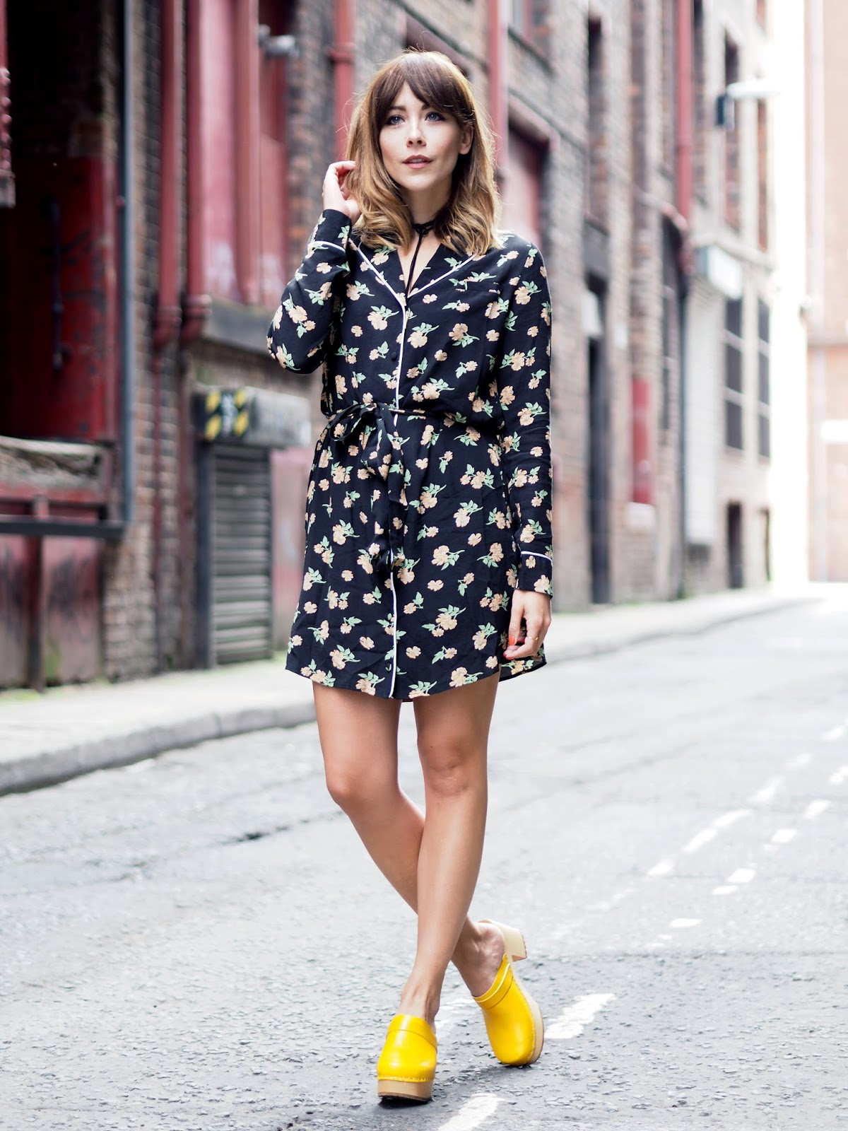 Pyjama style dress with Swedish hasbeen clogs and bolo tie