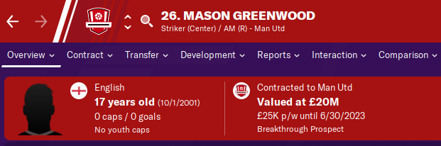 FM20 Wonderkid Analysis - Mason Greenwood
