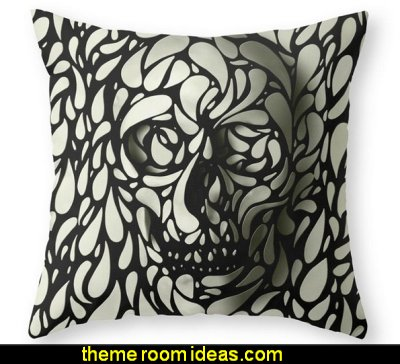 Skull Throw Pillow  skulls theme bedding skulls decorating