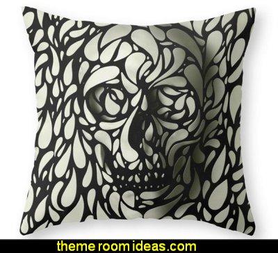 Skull Throw Pillow  skulls theme bedding skulls decorating