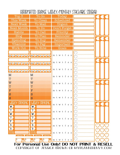 Free Printable Reformatted Weekly/Monthly Stackable Sidebar in Orange from myplannerenvy.com