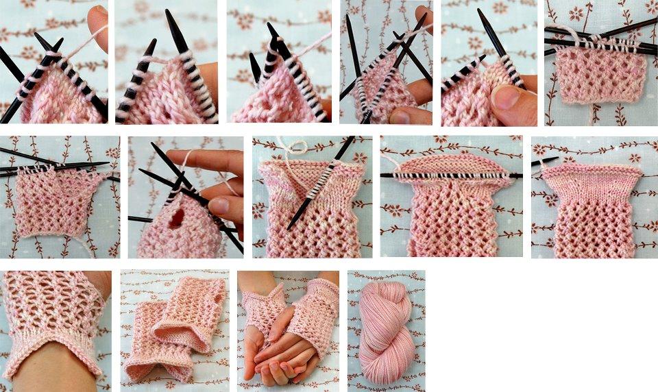 guantes tricot sin dedos, tejido de punto