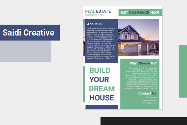 Real Estate Flyer Template Free Download on Word File with Blue and Green Color