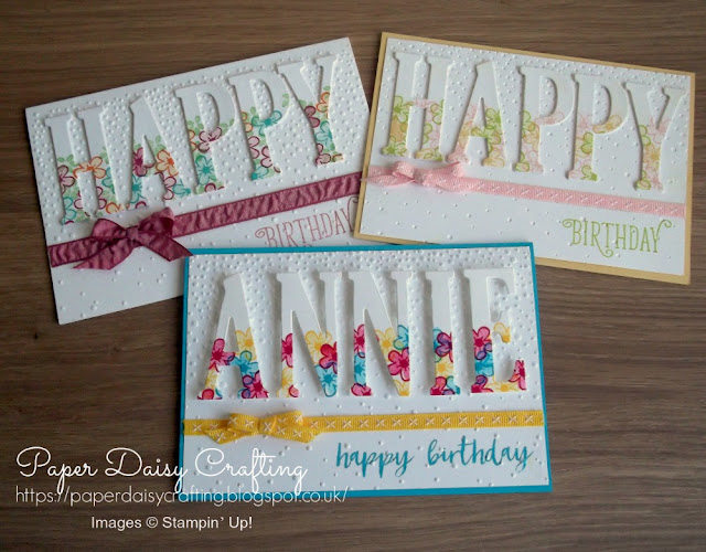 Large letter dies Happy Birthday gorgeous Stampin up