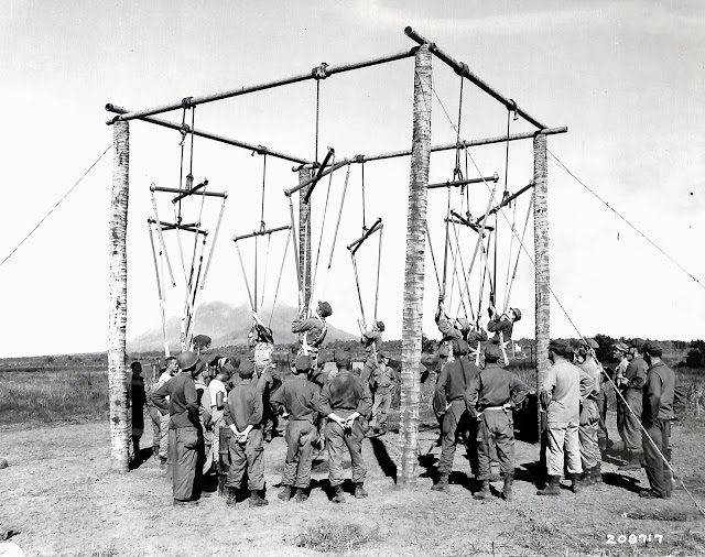Harness class for parachute jumping at the Lipa Airstrip, 1945.  Image source:  United States National Archives.