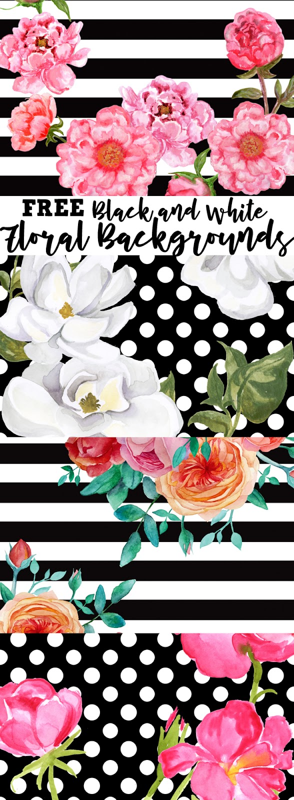Free Black White Floral Background Patterns