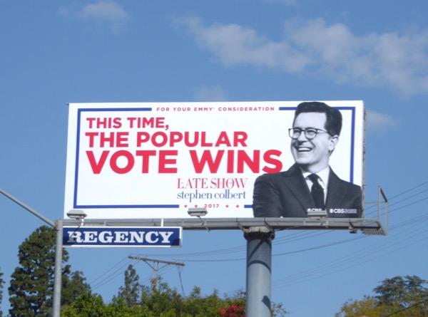 popular vote wins Stephen Colbert Emmy billboard