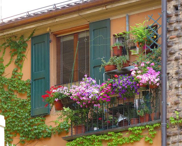 Flowery balcony next to the former church of Santa Lucia, Largo Giuliano Benassi, Via Castiglione, Bologna