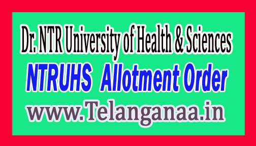 Dr. NTR University of Health & Sciences NTRUHS BAMS/BHMS / BNYS 2nd Allotment Order 2018