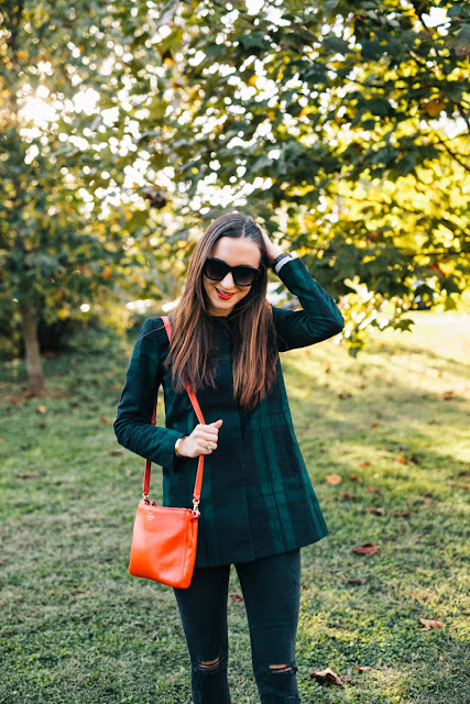 plaid jacket, fall jacket, red kate spade purse, kate spade crossbody, red lipstick, fall red, fall style, fall fashion 2014