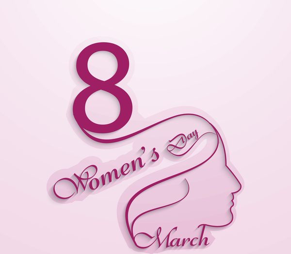 Happy womens day for lady face card design vector Free vector