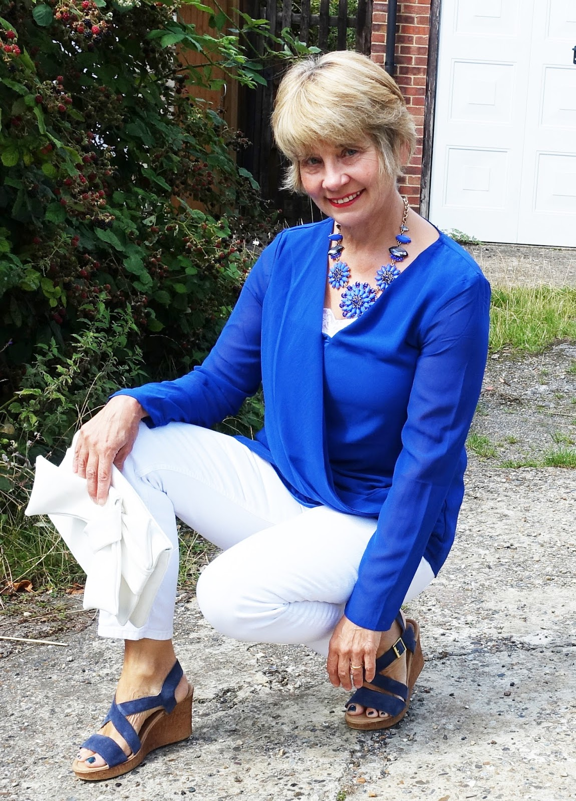 A dynamic colour combination, cobalt blue and white is stylish and invigorating. Shown on Is This Mutton? in a drapey tunic and white jeans.