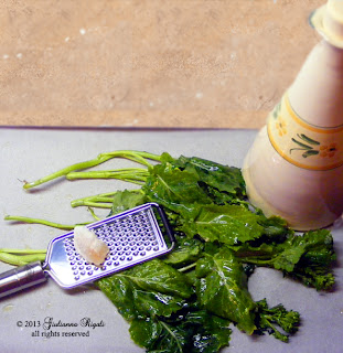 Preparing Spring Rapini or Broccoli Raab for Roasting with Olive Oil and Sea Salt