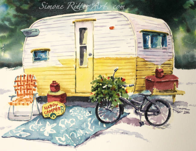 Yellow Buttercup Vintage Camper