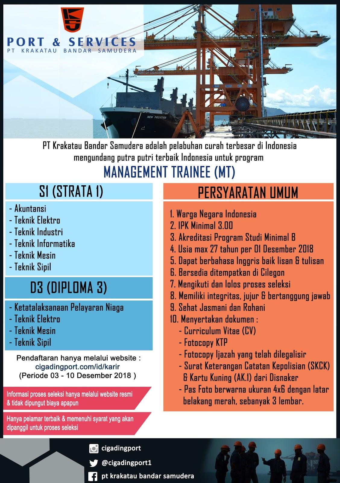 Lowongan Kerja Management Trainee PT Krakatau Bandar Samudera 2019