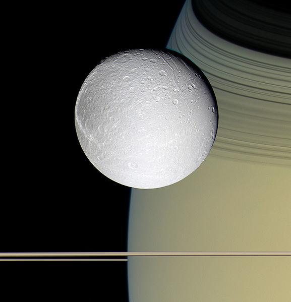 Dione, Saturno e seus anéis