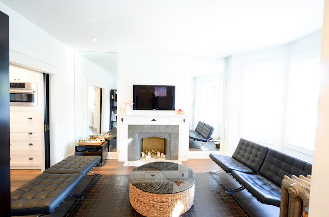 modern black and white living room before and after