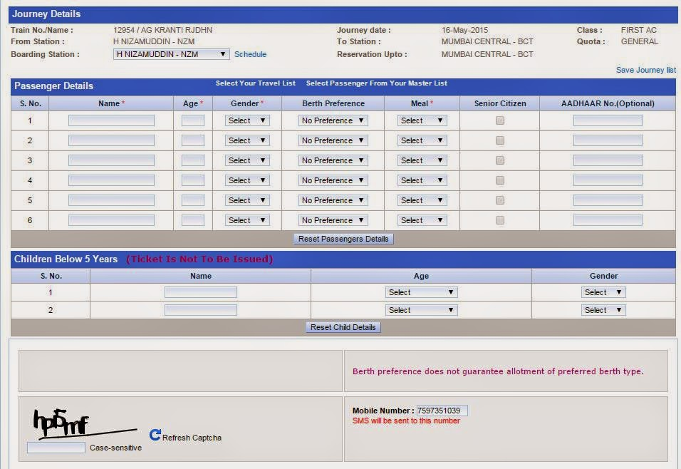 form to enter journey details (passenger details) on irctc.co.in