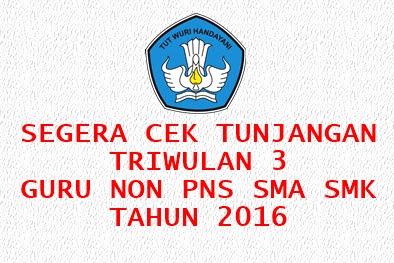Bisa dicek Tunjangan Triwulan 3 Guru Non PNS SMA/SMK Tahun 2016!!!