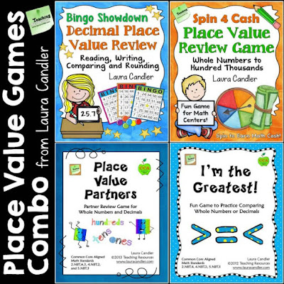 Place Value Games Combo - 4 terrific math center games for reviewing whole number and decimal place value concepts!