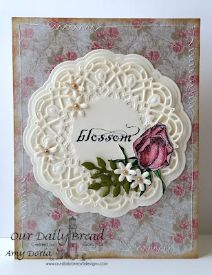 Our Daily Bread Designs Stamp sets: Blossom, Our Daily Bread Designs Custom Dies: Flower Box Fillers, Doily, Fancy Foliage, Our Daily Bread Designs Shabby Rose Paper Collection