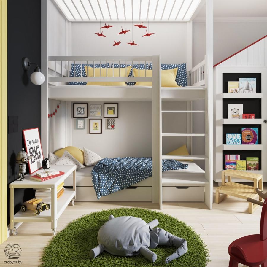 Kolorowe mieszkanie w Mińsku, wystrój wnętrz, wnętrza, urządzanie mieszkania, dom, home decor, dekoracje, aranżacje, biel, white, kolory, colors, pokój dziecięcy, kids room