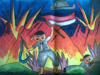 Lukisan Karya Anak SD  Tentang Pahlawan, Hasil Ekspresi Anak melalui mendengar cerita tentang pahlawan
