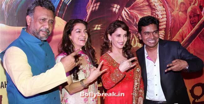 Anubhav Sinha, Juhi Chawla, Madhuri Dixit and Mushtaq Shiekh, Gulaab Gang Movie Premiere Pics