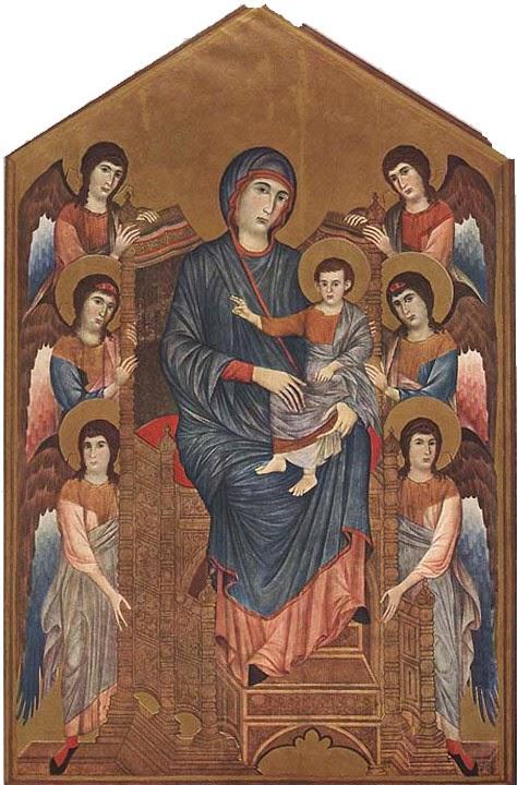 Madonna com o Menino e Dois Anjos - Giovanni Cimabue e suas pinturas ~ O criador de mosaicos