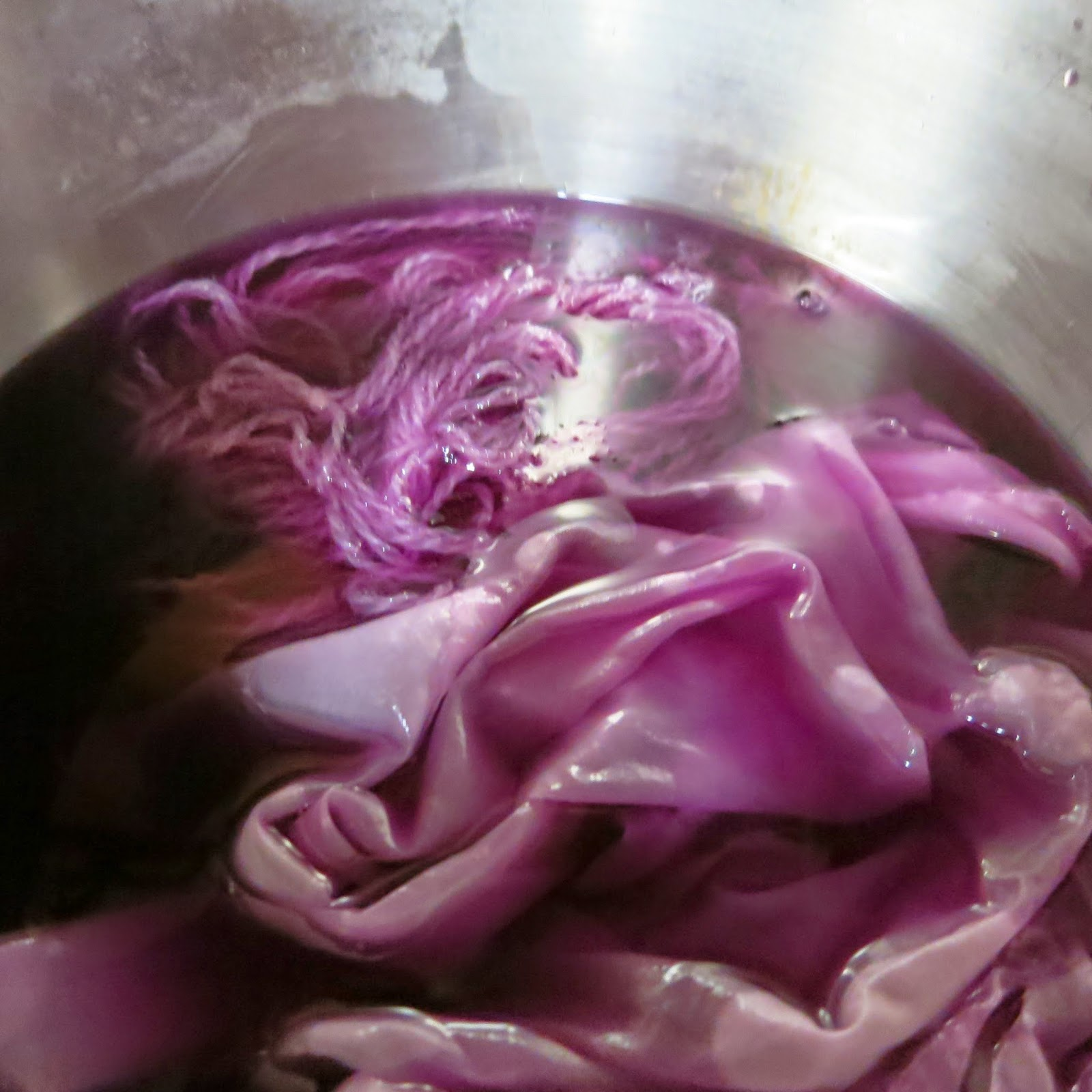 Red cabbage dye with vinegar added (acid pH.)