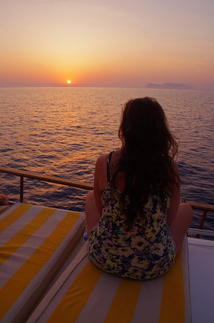 Girl sailing in Turkey at sunrise