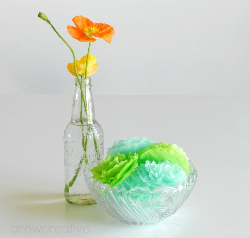 mini tissue paper party flowers: Grow Creative