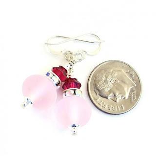 feminine frosted pink earrings gift idea for her