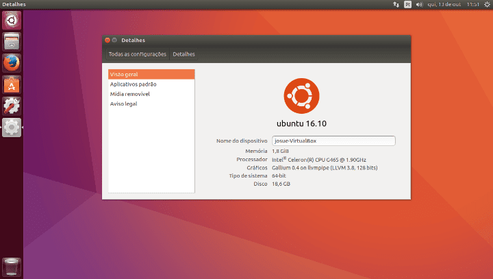 Ubuntu 16.10 Yakkety Yak no VirtualBox.