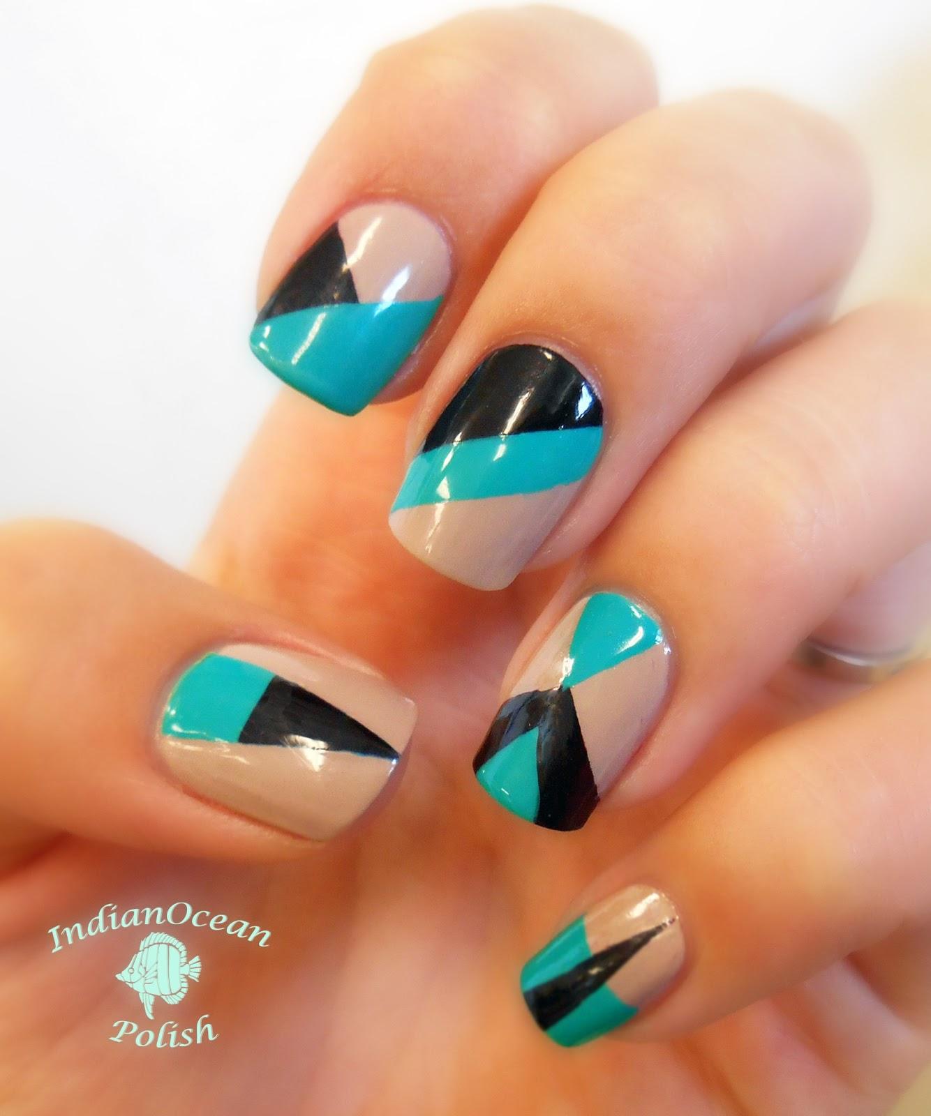 Aqua Nail Art: Indian Ocean Polish: Colour Blocking Nails With OPI Fly