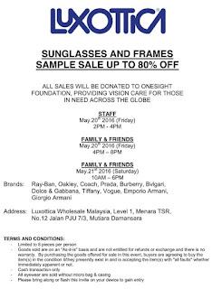 Luxottica Sunglasses & Frames Sample Sale