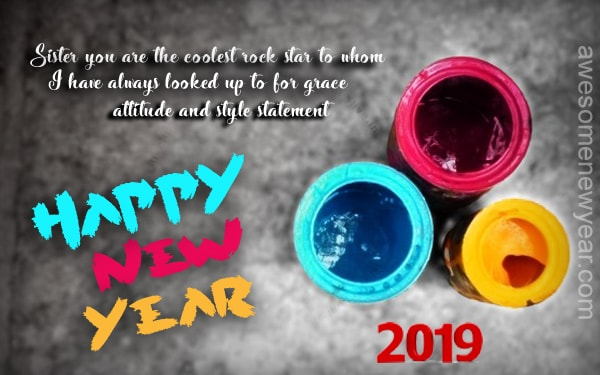 Happy New Year 2019 Greeting for Sister